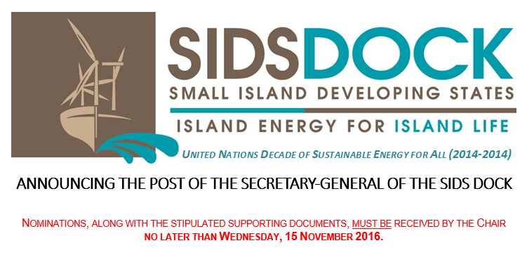 ANNOUNCING THE POST OF THE SECRETARY-GENERAL OF THE SIDS DOCK
