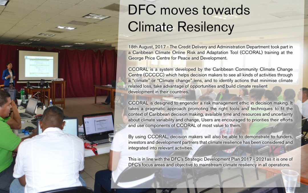 DFC moves towards Climate Resilency